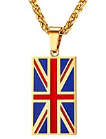 cheap -national flag dog tags necklace 18k gold plated stainless steel chain red enamel uk flag pendant