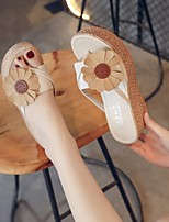 cheap -Women's Sandals Wedge Heel Peep Toe Casual Daily Walking Shoes Faux Leather Flower Solid Colored Black Beige