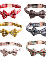 cheap -Dog Collar Tie / Bow Tie Adjustable Retractable Durable Outdoor Walking Plaid / Check Classic Bowknot Nylon Small Dog Medium Dog Yellow Red Blue Pink Green 1pc