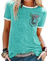 cheap -Women's T shirt Animal Patchwork Print Round Neck Tops Basic Basic Top White Black Blue