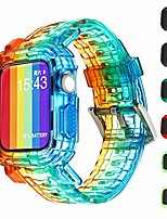 cheap -compatible for apple watch bands case 44mm/42mm/40mm/38mm, crystal clear integrated bumper watch strap iwatch series 6 /se/5/4 (gradient rainbow, 38mm/40mm)
