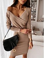 cheap -Women's Sheath Dress Knee Length Dress - Long Sleeve Solid Color Spring Fall Casual 2020 Blushing Pink Khaki Gray S M L XL XXL 3XL
