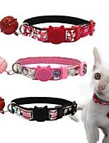 cheap -Dog Collar Adjustable Breathable Retractable With Bell Outdoor Walking Flower PU Leather Corgi Shiba Inu Pug Bichon Frise Schnauzer Poodle Black Red Pink 1pc