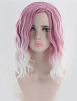 cheap -Synthetic Wig Water Wave Asymmetrical Wig Medium Length Purple Synthetic Hair Women's Color Gradient Ombre Hair Purple