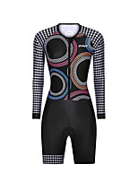 cheap -Men's Women's Long Sleeve Triathlon Tri Suit Polyester Black Bike Clothing Suit Breathable 3D Pad Quick Dry Reflective Strips Sweat-wicking Sports Graphic Mountain Bike MTB Road Bike Cycling Clothing