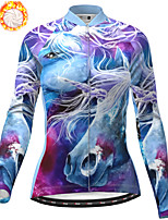 cheap -21Grams Women's Long Sleeve Cycling Jacket Winter Fleece Polyester Purple Animal Bike Jacket Top Mountain Bike MTB Road Bike Cycling Thermal Warm Fleece Lining Breathable Sports Clothing Apparel