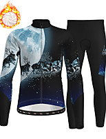 cheap -21Grams Men's Long Sleeve Cycling Jersey with Tights Winter Fleece Polyester Dark Navy Christmas Bike Clothing Suit Thermal Warm Fleece Lining Breathable 3D Pad Warm Sports Graphic Mountain Bike MTB
