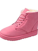 cheap -Women's Boots Flat Heel Round Toe Booties Ankle Boots Casual Daily Walking Shoes Cotton Lace-up Solid Colored Black Pink Brown / Mid-Calf Boots