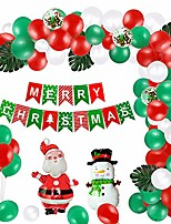 cheap -100pcs christmas decorations supplies set, christmas balloons garland & arch kit with green red white confetti latex balloons & santa claus mylar balloon&xmas banner for new year party