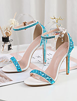 cheap -Women's Sandals Stiletto Heel Peep Toe Sexy Wedding Party & Evening PU Sparkling Glitter Buckle Solid Colored Light Purple Gold Rainbow