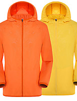 cheap -Men's Hoodie Jacket Hiking Skin Jacket Skin Coat Long Sleeve Sweatshirt Top Outdoor Lightweight Breathable Quick Dry Sweat-wicking Spring Summer Solid Color orange Light Green Pink Hunting Fishing