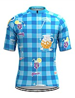 cheap -Men's Short Sleeve Cycling Jersey Blue Plaid Checkered Bike Top Mountain Bike MTB Road Bike Cycling Breathable Sports Clothing Apparel / Stretchy / Athletic