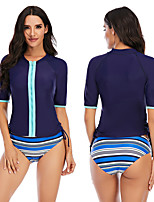 cheap -Women's Rashguard Swimsuit Elastane Swimwear Breathable Quick Dry Short Sleeve 2 Piece - Swimming Surfing Water Sports Painting Autumn / Fall Spring Summer