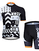 cheap -Men's Short Sleeve Cycling Jersey with Shorts Elastane Black / White Bike Sports Clothing Apparel