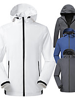 cheap -Men's Hoodie Jacket Hiking Softshell Jacket Hiking Windbreaker Outdoor Waterproof Lightweight Windproof Breathable Jacket Top Fishing Climbing Camping / Hiking / Caving Grey 2 Blue 2 White Black Blue