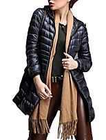 cheap -Women's Hooded Ultra-Lightweight Down Jacket Long Outwear Zip Puffer Coat Black