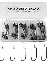 cheap -THKFISH 100pcs/Box Offset Worm Hooks High Carbon Steel Fishing Hooks Round Bend Hooks #2 #1 1/0 2/0 3/0