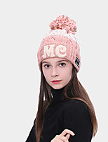 cheap -Men's Women's Hiking Cap 1 PCS Winter Outdoor Windproof Warm Soft Thick Skull Cap Beanie Patchwork Letter & Number Orlon Dark Pink Red Blue for Climbing Beach Camping / Hiking / Caving