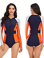 cheap -Women's One Piece Swimsuit Rash Guard Elastane Swimwear Breathable Quick Dry Long Sleeve Front Zip - Swimming Surfing Water Sports Patchwork Autumn / Fall Spring Summer