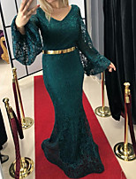 cheap -Mermaid / Trumpet Vintage Sexy Engagement Formal Evening Dress V Neck Long Sleeve Sweep / Brush Train Lace with Sash / Ribbon 2021