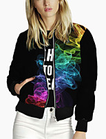 cheap -Women's Print Print Active Spring &  Fall Jacket Regular Daily Long Sleeve Polyster Coat Tops Black
