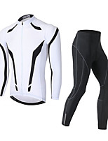 cheap -Men's Long Sleeve Cycling Jersey with Tights Winter Elastane Black / Red White Black / Blue Bike Sports Clothing Apparel