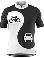 cheap -21Grams Men's Short Sleeve Cycling Jersey Black / White Bike Top Mountain Bike MTB Road Bike Cycling Breathable Sports Clothing Apparel / Stretchy / Athletic