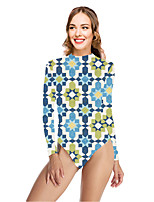 cheap -Women's New Vacation Sexy One Piece Swimsuit Tribal Floral Tummy Control Print Bodysuit Normal High Neck Swimwear Bathing Suits Blue / Party