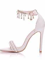 cheap -Women's Wedding Shoes Pumps Open Toe Business Sexy Minimalism Wedding Party & Evening PU Pearl Buckle Tassel Solid Colored White