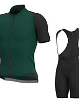 cheap -Men's Short Sleeve Cycling Jersey with Bib Shorts Elastane Green Bike Sports Clothing Apparel