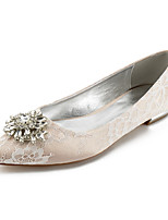 cheap -Women's Wedding Shoes Flat Heel Pointed Toe Classic Sweet Wedding Party & Evening Lace Rhinestone Crystal Solid Colored White Champagne Ivory