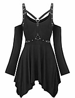 cheap -Women Plus Size T Shirt Dress Sexy Gothic Clothes Long Sleeve Tops Strapless Blouses Women Party Jumpers(M,Black)