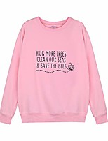 cheap -Womens Letter Print Sweatshirt Bee Graphic Crew Neck Pullover Blouse Shirt Top Jacket Jumper S-2XL Pink