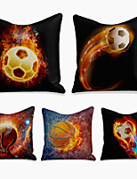 cheap -cushion cover 5pc linen soft decorative square throw pillow cover cushion case pillowcase for sofa bedroom 45 x 45 cm (18 x 18 inch) superior quality machine washable ball fire