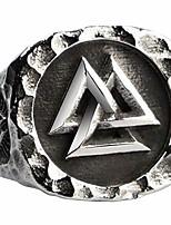 cheap -Titanium Steel Norse Viking Valknut Signet Ring with Vegvisir Compass for Men Women Size N 1/2
