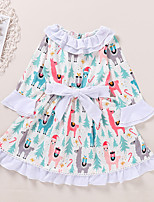 cheap -Kids Toddler Little Girls' Dress Deer Animal Print White Long Sleeve Active Dresses Summer Regular Fit 2-6 Years