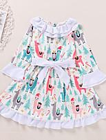 cheap -Kids Toddler Little Girls' Dress Deer Animal Print White Long Sleeve Active Dresses Summer Regular Fit 2-6 Years