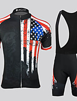 cheap -21Grams Men's Short Sleeve Cycling Jersey with Bib Shorts Black National Flag Bike Breathable Sports Graphic Mountain Bike MTB Road Bike Cycling Clothing Apparel / Stretchy / Athleisure