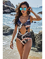 cheap -Women's New Fashion Sexy Monokini Swimsuit Floral Open Back Cut Out Embroidery Padded Normal Strap Swimwear Bathing Suits White Black Blue / One Piece / Print