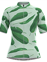 cheap -Women's Short Sleeve Cycling Jersey Green Leaf Bike Top Mountain Bike MTB Road Bike Cycling Breathable Quick Dry Sports Clothing Apparel / Stretchy / Athleisure