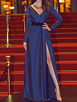 cheap -A-Line Minimalist Sexy Engagement Formal Evening Dress V Neck Long Sleeve Floor Length Stretch Satin with Split 2020