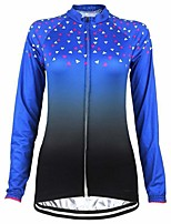 cheap -21Grams Women's Long Sleeve Cycling Jersey Blue Gradient Bike Top Mountain Bike MTB Road Bike Cycling Breathable Quick Dry Sports Clothing Apparel / Stretchy / Athleisure