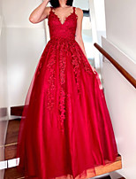 cheap -Ball Gown Sexy Floral Quinceanera Formal Evening Dress V Neck Sleeveless Floor Length Tulle with Pleats Appliques 2021