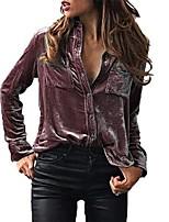 cheap -Women Ladies Solid Velvet Turn-Dowm High Collar Long Sleeve T-Shirt Button Down Tops Blouse Stylish Shirt (Purple, UK 14)