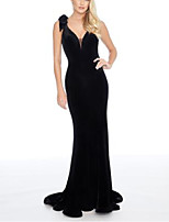cheap -A-Line Sheath / Column Beautiful Back Sexy Engagement Formal Evening Dress V Neck Sleeveless Sweep / Brush Train Stretch Satin with Pleats Pearls 2020
