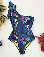 cheap -Women's New Vacation Romper Swimsuit Leaf Ruffle Print Bodysuit Normal Swimwear Bathing Suits Blue / One Piece