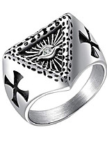 cheap -men's stainless steel all seeing eye of god signet ring with cz stone double carved cross silver size 12