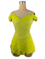 cheap -Figure Skating Dress Women's Girls' Ice Skating Dress Yellow Spandex High Elasticity Training Competition Skating Wear Patchwork Crystal / Rhinestone Short Sleeve Ice Skating Figure Skating / Kids