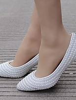 cheap -Women's Wedding Shoes Pumps Pointed Toe Business Sexy Minimalism Wedding Party & Evening PU Rhinestone Pearl Sparkling Glitter Solid Colored Color Block White