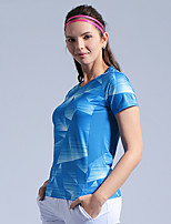 cheap -Women's Tennis Badminton Table Tennis Tee Tshirt Short Sleeve Breathable Quick Dry Moisture Wicking Sports Outdoor Autumn / Fall Spring Summer Color Gradient Blue Green / High Elasticity